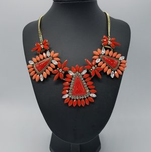 Jewelry - Statement Necklace Orange Red Flowers Triangles